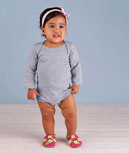 (Rabbit Skins Drop Ship Infant Baby Rib Lap Shoulder Long Sleeve Creeper, NB, HEATHER)