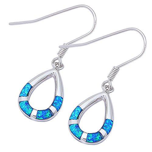 Created Opal Dangle Earrings - Tear Drop Lab Created Blue Opal Dangle Style .925 Sterling Silver Earrings