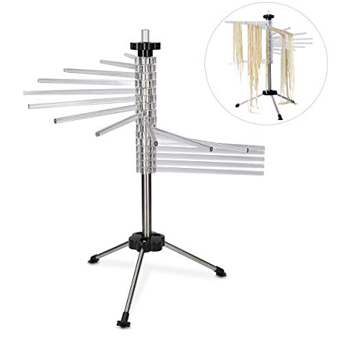 Collapsible Pasta Drying Rack with 16 Food Grade BPA free Rods - Holds 4.5 Pounds (2kg) Pasta/Spaghetti, Noodle Dryer for Homemade Noodles