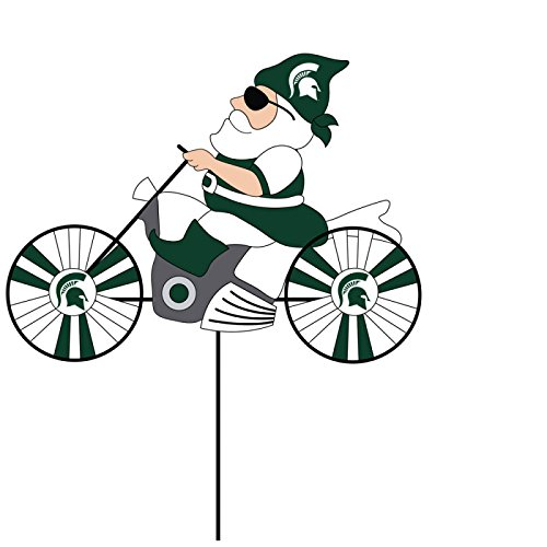 NCAA Michigan State University Motorcycle Gnome Outdoor Wind Spinner Garden Stake