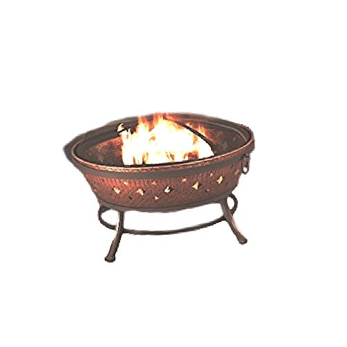 FirePit with Legs Large Vintage Rustic Burning Bowl Decor Copper Round Camp Cover & Ebook by OISTRIA