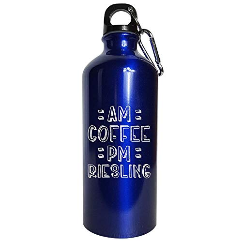 AM Coffee PM Riesling - Water Bottle Metallic Blue