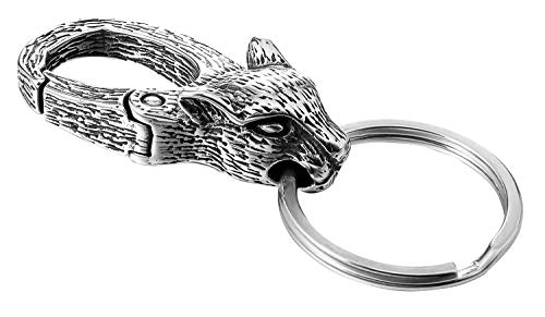 - CHOMAY Key Chain Holders Stainless Steel Hip Hop Gothic 3D KeyChains with 3 Spilt Rings - Leopard