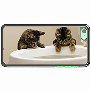 iPhone 5C Black Hardshell Case kittens toilet play Desin Images Protector Back Cover