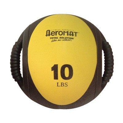 Aeromat Dual Grip Power Medicine Ball, 9cm/10-Pound, Black/Yellow (10 Lb Medicine Ball With Handles)