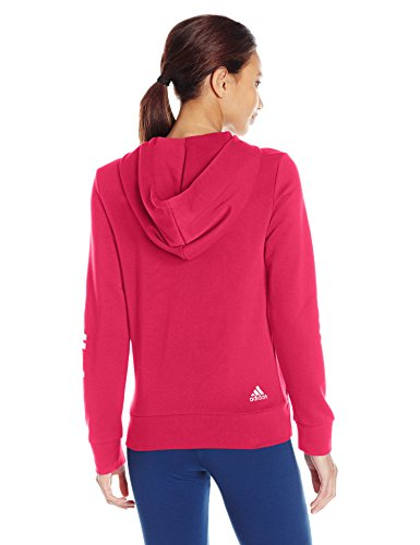 adidas Women's Essentials Linear Full Zip Fleece Hoodie, Energy Pink/White, X-Small by adidas (Image #2)