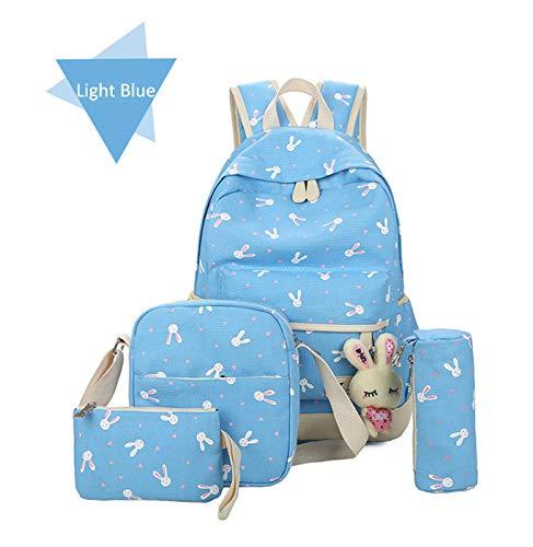 Kaufen buy Kaufen School Backpacks for Teen Girls Kids, 4 Pcs Cute Rabbit Book Bag Set, Lightweight Canvas Bookbags Set Travel Daypack (Light Blue) ()