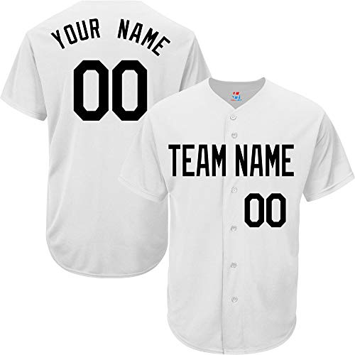(Pullonsy Custom Baseball Jersey for Women Button Down Embroidered Your Name & Numbers,White Size L)