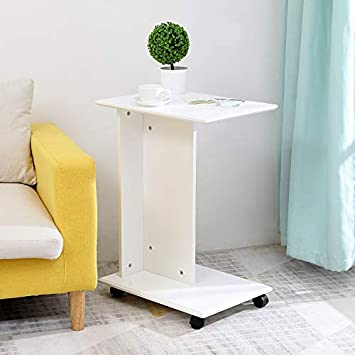 IWELL Snack Table,Side Table,End Table,Nesting Coffee Table, Slides Next to Sofa Couch with Wheels, Easy to Move,Sturdy and Easy Assembly,White