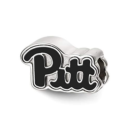 Roy Rose Jewelry Sterling Silver LogoArt University of Pittsburgh Pitt Bead Script Enameled Logo