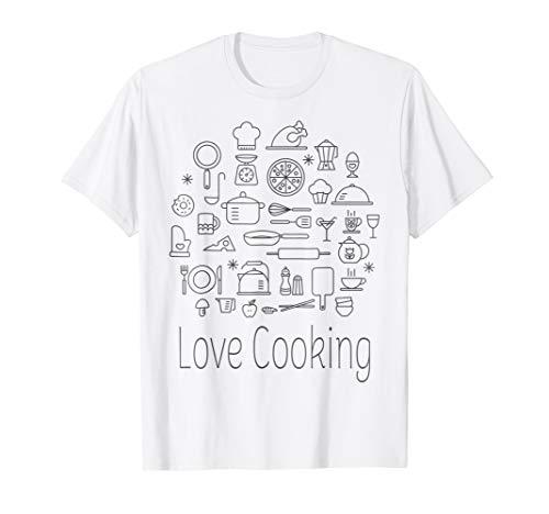 LOVE COOKING chef kitchen tool cool t-shirt gift men women