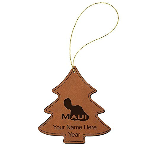 LaserGram Faux Leather Christmas Ornament, Maui Island, Personalized Engraving Included (Dark Brown Tree)