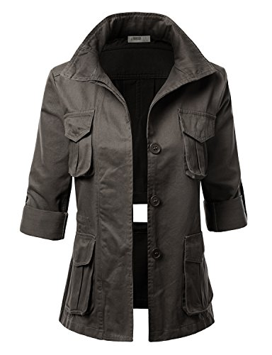 J.TOMSON Women's Military Look Open Back Jackets with Pockets and Roll Up Sleeve OLIVE L