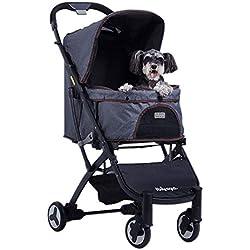 Mkaijzm Dog Stroller Pet Stroller, Dog Stroller, Foldable, Washable, Four-Wheeled Dog/cat Stroller, Load-Bearing 20KG (Color : B)