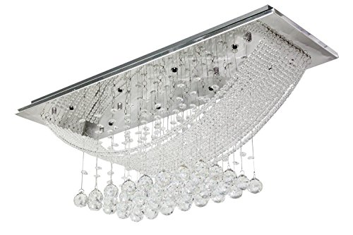 Chandelier Bridge - Dst Bridge Wave Crystal Chandelier Rain Drop Crystal Ceiling Light Lamp with 8 Lamp for Living Room or others L28W10H12