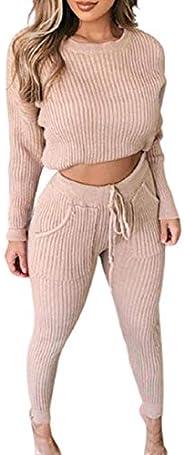 Ninimour Women Fashion Ribbed Plain Long Sleeve Top & Drawstring Pants