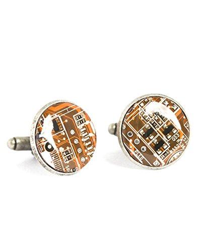 Antique Circuit Board Cufflinks,Orange Circuit Board Cufflinks,Computer Cuff Links,Glass Round Silver Cufflinks,Art Picture Jewelry,Charm Jewelry,Shirt Cufflinks
