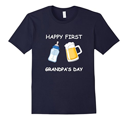 Mens Happy First Grandpa's Day Father T-shirt Funny Emoji Gift Large Navy