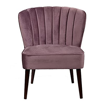"""Pulaski Channeled Armless Accent Chair, Lilac - The perfect design statement, this accent chair provides a unique curved back, accented by channeled stitching, 28.3"""" L x 28.9"""" W x 33.5"""" H Round tapered espresso finished legs - living-room-furniture, living-room, accent-chairs - 41izDcJT4eL. SS400  -"""