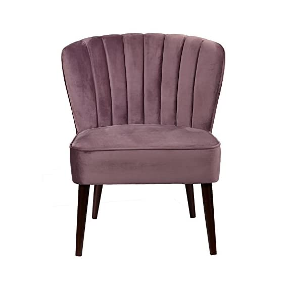 "Pulaski Channeled Armless Accent Chair, Lilac - The perfect design statement, this accent chair provides a unique curved back, accented by channeled stitching, 28.3"" L x 28.9"" W x 33.5"" H Round tapered espresso finished legs - living-room-furniture, living-room, accent-chairs - 41izDcJT4eL. SS570  -"