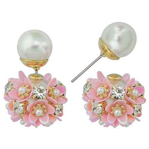 Coiris New Sweet Double Sided Simulated Pearl Flowers Ball Stud Earrings Gift 925 Silver Pin (ER1145-pink)