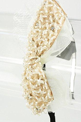 Karmas Canvas Ribbon & Crystal Headband (Tan)