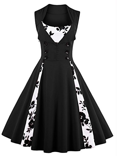 Killreal Women's Vintage Floral Print Sleeveless Casual Rockabilly Cocktail Dress Black/White Medium (Black And White Shoes From The 60s)