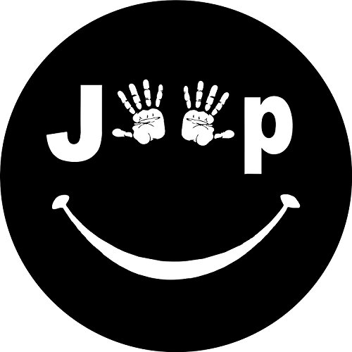 Jeep Wave with Smile Spare Tire Cover for 31x10.5x15 Jeep RV and more (31x10.5x15, WHITE)