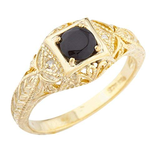 Onyx Elizabeth - Elizabeth Jewelry Genuine Black Onyx & Diamond Round Ring 14Kt Yellow Gold Plated Over .925 Sterling Silver
