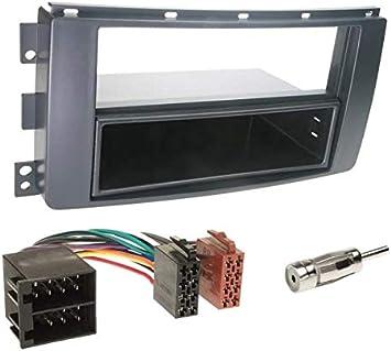 Sound-way Kit Montaje Autoradio, Marco 1 DIN Radio para Coche, Cable Adaptador Conector ISO, Adaptador Antena, Compatible con Smart Car ForTwo, Smart ...