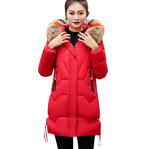 Womens Coats Winter Clearance Liraly Fashion Warm Coat Faux Fur Hooded Thick Warm Slim Jacket Long Overcoat(Red,US-8 /CN-L) by Liraly