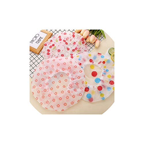 (1 Pc Random Color Waterproof Shower Cap Summer Bath Washing Thicken Bath Hat Bathing Cap For Women Flower Dot Hair Cover Adults,As Picture)