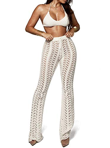 LROSEY Womens Sexy Knitted Hollow Out Wide Leg Pants See Through High Waist Beach Pants Bikini Swimsuit Cover Up Plus Size