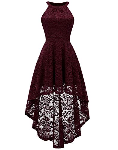 BeryLove Women's Halter Hi-Lo Floral Lace Cocktail Dress Sleeveless Bridesmaid Formal Swing Dress BLP7028BurgundyL