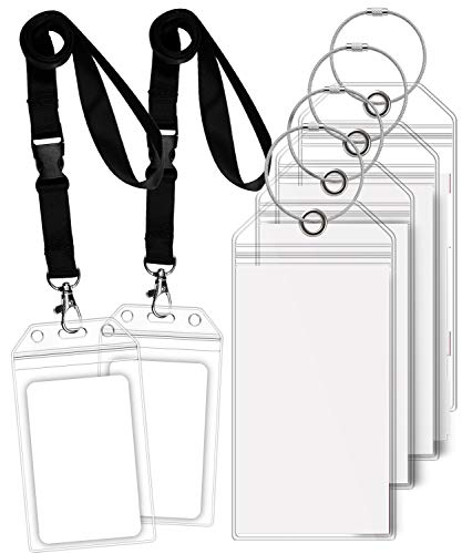 (GreatShield Luggage Tags, ID Batch Holder Weatherproof Zip Seal & Steel Loops for Princess, Carnival, Costa, Holland America, and P&O Norwegian Cruise (4 Tags + 2 ID Holders))