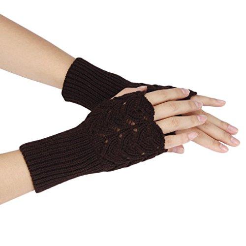 ManxiVoo New Women's Warm Winter Brief Paragraph Knitting Half Fingerless Gloves (Coffee) - Rainbow Net Fingerless Gloves