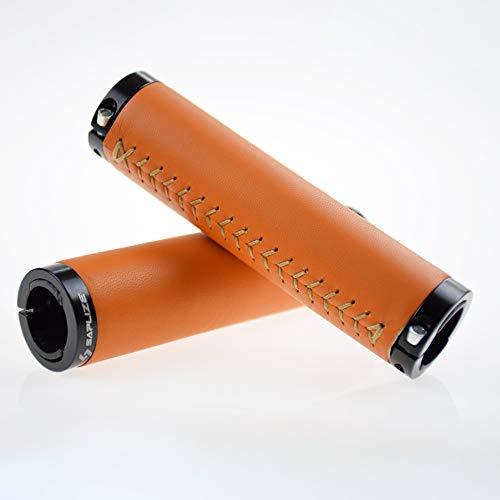 SAPLIZE Bike Handlebar Grips, Luxurious Genuine Leather Wrap, Aluminum Double Lock-on, Orange
