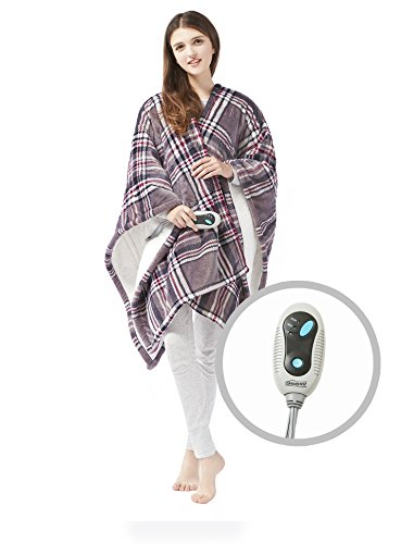 (Beautyrest - Soft Sherpa Heated Blanket Wrap - Plaid Pattern - 50