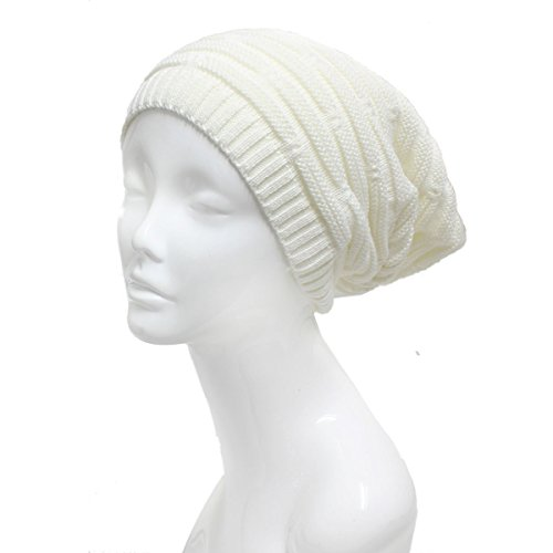 Girls Fall Line (AN - Unisex Fall Winter Double Lines Knit Slouchy Beanie Single Layer Solid Color (White(523)))
