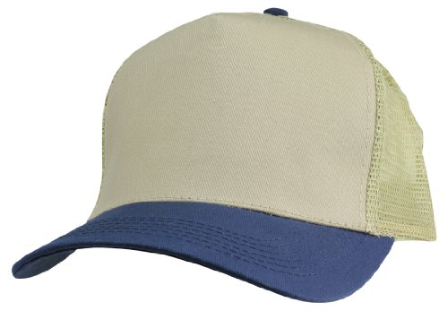 Plain Baseball Cap w/ Mesh Back Strong Cotton Twill Front in Khaki and Navy (Twill Front Mesh Back Cap)