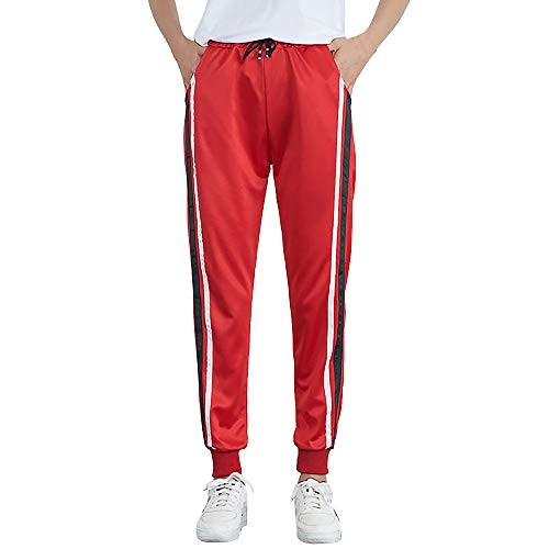 Ladies Trousers Hot Sale,DEATU Womens Mid-Waist Casual Striped Multi-choice Jogger Sports Pants Harem Pants Trousers(Red3,M)