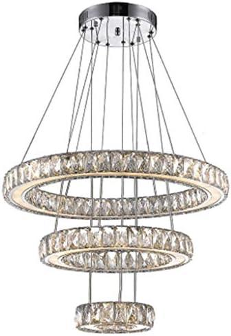 Winretro Modern DIY Crystal LED Chandelier Light Fixture 3 Rings Round Pendant Lighting Adjustable Stainless Steel Ceiling Lamp for Living Room Dining