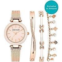 Anne Klein Women's Swarovski Crystal Accented Textured Bangle Watch & Bracelet Set (Rose Gold)