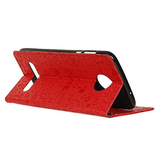 Lusee® PU Caso de cuero sintético Funda para Motorola Moto Z2 Cubierta con funda de silicona botón pequeña bruja lilac pequeña bruja rojo