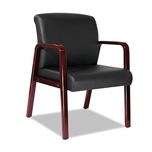 Alera ALERL4319C Reception Lounge Series Guest Chair, Cherry/Black Leather (Cherry Sofa Leather)