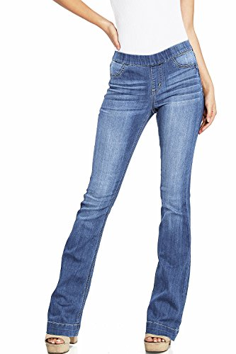 (Cello Women's Juniors Mid Waist Skinny Fit Bootcut Pants (L, Light Denim))