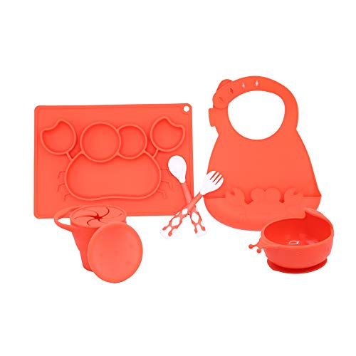5 PC Silicone Dinnerware Baby Place Mat Cup Flatware Bowl Bib Fork and Spoon Anti Slip Easy to Clean Kids Placemat Fun Animal Shapes and Colors 5 Piece Set Red (Crab)