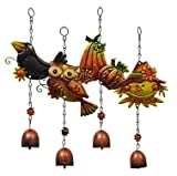 Fall Harvest Metal Bell Wind Chimes Perfect for Gardens, Porches, Patios, Gazebos, and More.. (Set of 4)
