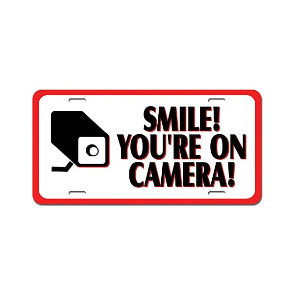 Smile You're On Camera Video Surveillance   Business Sign Novelty Metal Vanity License Tag Plate