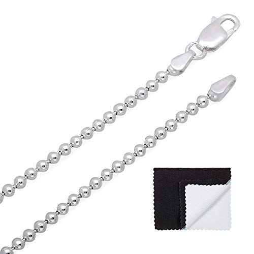 2.2mm 925 Sterling Silver Nickel-Free Pallini Style Bead Italian Chain, 24
